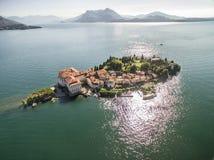 ISOLA BELLA空中寄生虫照片 多数BEAUTYFUL海岛在意大利 免版税库存照片