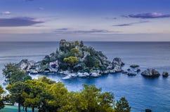 isola bella西西里岛全景  库存照片
