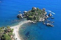 Isola Bella. View of Isola Bella island (Taormina, Sicily, Italy stock photo