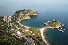 Isola Bella. Top view of the bay of Isola Bella, Sicilian coast, Toarmina Stock Photography