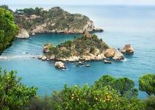 Isola Bella beach. Coastline and beach Isola Bella near Taormina. Sicily. Italy stock images