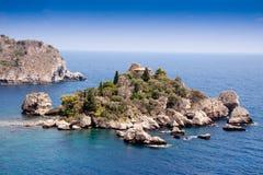 Isola Bella, beautiful island, Taormina, Sicily. Sea of Sicily; Taormina beach with 'Isola Bella Stock Photography