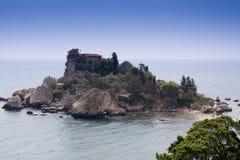 Isola Bella, beautiful island, Taormina, Sicily. Sea of Sicily; Taormina beach with 'Isola Bella Stock Photo