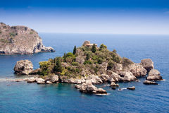 Isola Bella, belle île, Taormina, Sicile Photographie stock