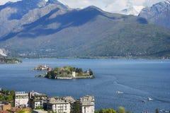 Isola Bella and Isola dei Pescatori, the famous Islands on Lago Maggiore lake. Stresa, Italy stock image
