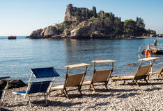 Isola Bella (den härliga ön) är en liten ö nära Taormina Fotografering för Bildbyråer