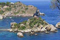 Isola Bella famous isle near Taormina Sicily Stock Images