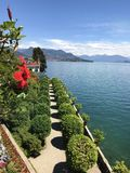 Isola Bella Gardens with Trees in a Row and Lake View. Beautiful park on the island of Isola Bella in Lago Maggiore, Italy,Lombardy ,Northern Italy stock photo
