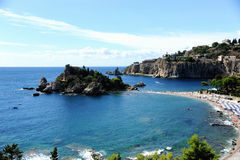 Isola Bella Insel in Taormina Sizilien Stockbild