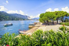 Isola Bella island from above in summer stock photography
