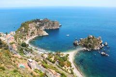 Isola Bella, Taormina, Sicily, Italy. Isola Bella island and beautiful beaches at Taormina, Sicily, Italy stock images