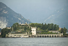 Isola Bella island Italy. Scenic view of Isola Bella island viewed over Lago Maggiore with mountains in background, northern Italy stock images