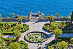 Isola Bella Island, Italy. Lake Maggiore in Northern Italy. A masterpiece of landscape art. Beautiful Borromeo Palace green park on the island Isola Bella royalty free stock photography