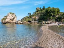 """Isola Bella"" Island of Taormina, Catania, Sicily. Beautiful paradise island in Sicily. stock photos"