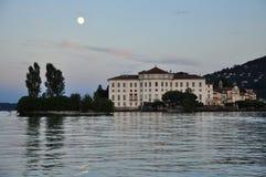 Isola Bella, Lake (lago) Maggiore, Italy. Full moon stock images
