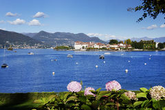 Isola Bella seen from the shore of Stresa town. Isola Bella is one of the Borromean Islands of Lago Maggiore, north of Italy, 400 metres from the lakeside town royalty free stock image