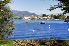 Isola Bella seen from the shore of Stresa town. Isola Bella is one of the Borromean Islands of Lago Maggiore, north of Italy, 400 metres from the lakeside town stock images