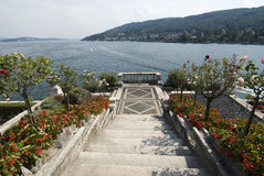 Isola Bella steps and garden. S with view of Lago Maggiore, Italy stock image