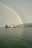 Isola Bella , Stresa, Lake - lago - Maggiore, Italy. Double rainbow Stock Photography