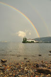 Isola Bella , Stresa, Lake - lago - Maggiore, Italy. Double rainbow Royalty Free Stock Photography