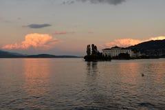 Isola Bella , Stresa, Lake - lago - Maggiore, Italy. Sunset Royalty Free Stock Images