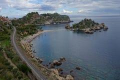 Isola Bella , Taormina, Italy. Italian Island in Sicily stock photo