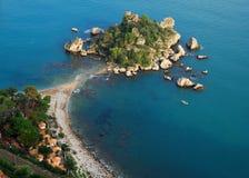 Isola Bella in Taormina (Sicily, Italy). Isola Bella (Sicilian: ÃŒsula Bedda) is a small island near Taormina, Sicily, southern Italy. Also known as The Pearl royalty free stock photos