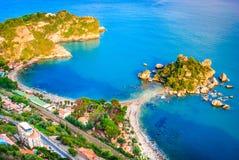 Isola Bella - Taormina, Sicily, Italy. Taormina, Sicily. Sicilian seascape with beach and island Isola Bella in Italy stock photos