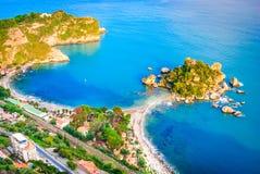 Isola Bella - Taormina, Sicily, Italy. Taormina, Sicily. Sicilian seascape with beach and island Isola Bella in Italy royalty free stock image