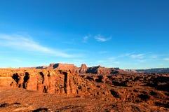 Isola bianca di Canyonlands NP della strada dell'orlo nel cielo Utah Fotografia Stock Libera da Diritti