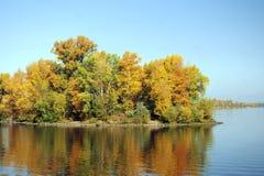 Isola con gli alberi Fotografia Stock