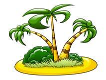 Isola con tre palme Immagini Stock Libere da Diritti