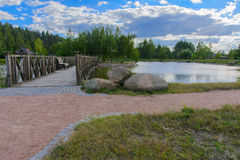 Isola con un ponte Fotografie Stock