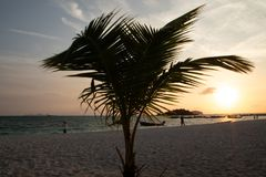 Isola Crystal Clear Sea, blu, palme di Paradise, su fyre immagini stock libere da diritti