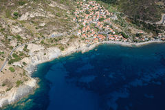 Isola d'Elba-Pomonte beach. Aerial view of Pomonte beach in Elba island Stock Photography