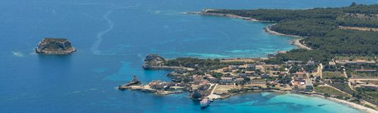 Isola de皮亚诺萨岛皮亚诺萨岛海岛的空中图象 免版税库存照片