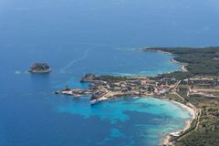 Isola de皮亚诺萨岛皮亚诺萨岛海岛的空中图象 免版税库存图片