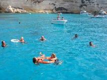 Isola dei Conigli海滩在兰佩杜萨 免版税库存照片