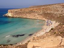 Isola dei Conigli beach in Lampedusa. Lampedusa, Italy - September 24, 2002 : View of Rabbits beach from above royalty free stock photography