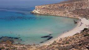 Isola dei conigli lampedusa italy. Wonderful beach in lampedusa island, sicily italy like carribean sea isola dei conigli rabbits stock images