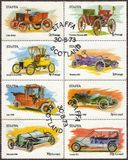 Isola dei francobolli di Staffa delle automobili d'annata Fotografia Stock Libera da Diritti