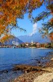 Isola dei Pescatori & x28的风景看法; Fishermens Island& x29; Lago Maggiore,意大利,欧洲 库存照片