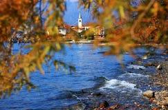 Isola dei Pescatori & x28的风景看法; Fishermens Island& x29; Lago Maggiore,意大利,欧洲 免版税库存照片