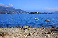 Isola dei Pescatori & x28的风景看法; Fishermens Island& x29; Lago Maggiore,意大利,欧洲 库存图片