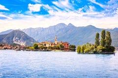 Isola dei Pescatori, fisherman island in Maggiore lake, Borromean Islands, Stresa Piedmont Italy. Europe. Long Exposure stock photo