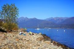 Isola dei Pescatori (Fishermens海岛), Lago Maggiore,意大利,欧洲的风景看法 免版税图库摄影