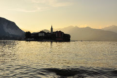 Isola dei Pescatori, sunset, lake Maggiore, Italy Royalty Free Stock Images
