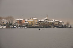 Isola dei Pescatori in Winter, Lake Maggiore, Italy Royalty Free Stock Photography
