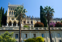 Isola del Garda. Looking up to the Venetian neo-Gothic style villa Stock Images