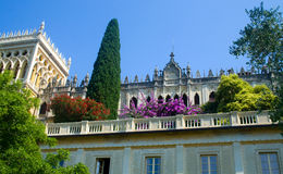 Isola del Garda. Looking up to the Venetian neo-Gothic style villa Royalty Free Stock Photography